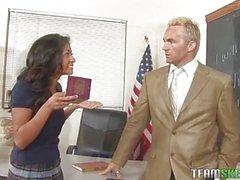 Naughty schoolgirl blackmailing her teacher