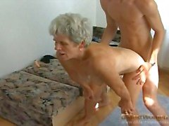 Hairy granny pussy slammed by stiff young dick