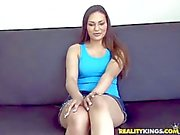 Young Amateur brunette in skirt has audition in close up