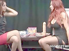 Teenage lesbo tought how to use a massive dildo
