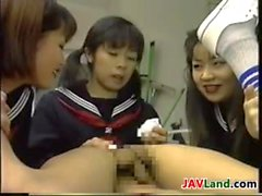 Four Japanese Schoolgirls Playing