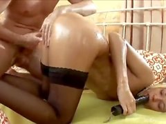 Young Oiled Teen is Anal Slave for Big Dick