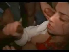 Drunk chick sucking dicks and swallow semen at the teen party