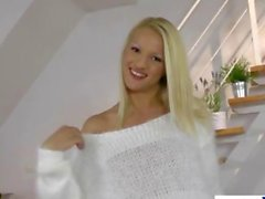 Glamour blonde teen fingers herself from behind