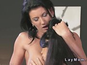 Sexy brunette Milf licks young pussy