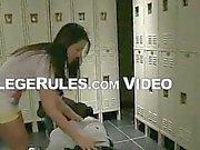 Brunette college babe sucks cock in the locker room