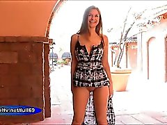 Nicole _ Amateur babe flashing her boobs and pussy in public