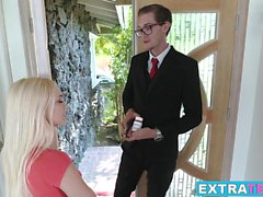 Gorgeous blonde teen babe Alex Grey enjoys a huge fat cock