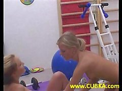 Adorable teens have fun at gym