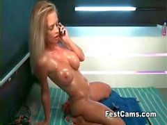 Hot line with a blonde chick with big tits