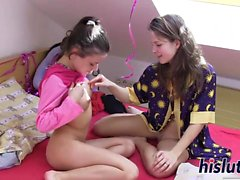 Anita and Suzi experiment with lesbian sex