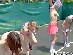 College girlies play with tennis balls