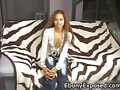 Ebony slut on her knees jerking part1