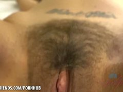 Penelope's hairy pussy gets a creampie