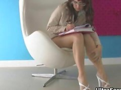 Cute secretary in hot heels showing