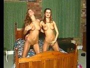 Hardcore lesbian masturbation in webcam action