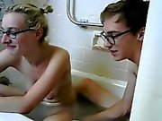 Blonde plays with herself in the tub and gets out for her v