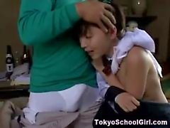 Japanese schoolgirl finger and blowjob