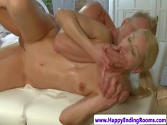 Blonde masseuse banged hard by client