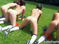 Butt naked rushes get hosed down and toy fucked each other