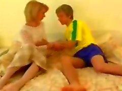 Blonde granny gets fucked by her cute teen boyfriend