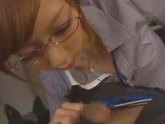 Japanese businesswoman cock slurper performs well