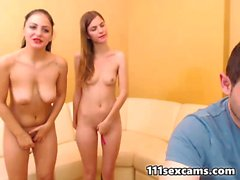 Three teens and one fucker doggystyle fucking on webcam