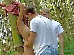Hot Teen Babe Pumped By Two Hard...