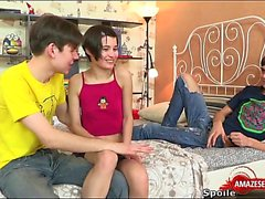 Hot teen threesome and cumshot