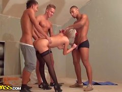 Sexy blonde fucked by three athletes