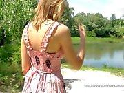 Blonde girl outdoor masturbation