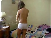 Striptease 2: Amateur teen changing clothes and panties