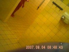 Teenager in bath after-sport camera sazz that is hidden