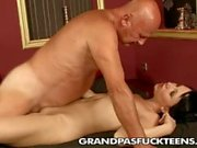 Nasty old guy drilling sweet young pussy