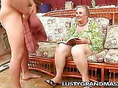 Nasty granny Margots hairy pussy for young cock