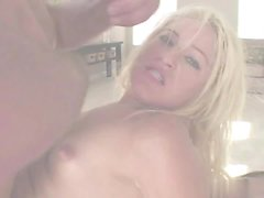 Blonde playmate, Heather Gables loves getting all three...