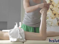 Cute teen gets nailed after a massage