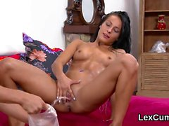 Exceptional czech centerfold lexi dona rubs and cums