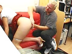 Schoolgirl beauty pleases a big guy