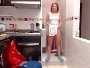 Camgirl squirt in kitchen