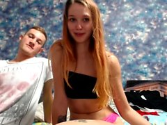 Horniest Amateur 19yo College Teen couple fucking on Webcam
