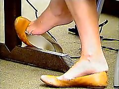Candid College Feet Shoeplay in Brown Flats