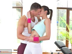 Fitness Rooms Tight brunette teen fucks instructors big cock