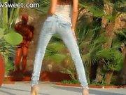 Blackhaired model teasing naked outdoors