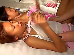 Saori & Saya Thai teens lick ice-cream titty
