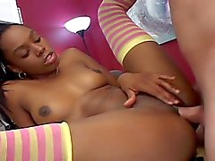Cute ebony teen loves white dick
