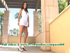 Gracie angelic brunette chick fingering her pussy outdoor