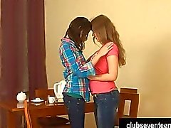Sexy lesbian teens finger and toy twats