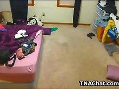 Hacked webcam catches teen masturbating to orgasm