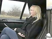 Blonde fucks in fake taxi beside highway at daylight